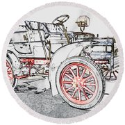 1907 Cadillac Colored Pencil Round Beach Towel