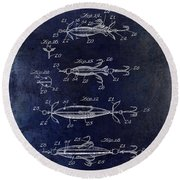 1907 Fishing Lure Patent Blue Round Beach Towel