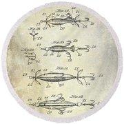 1907 Fishing Lure Patent Round Beach Towel
