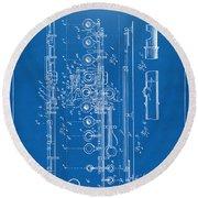 1908 Flute Patent - Blueprint Round Beach Towel