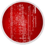 1908 Flute Patent - Red Round Beach Towel