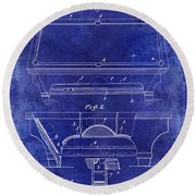 1909 Billiard Table Patent Drawing Blue Round Beach Towel