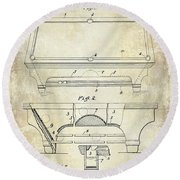 1909 Billiard Table Patent Drawing  Round Beach Towel
