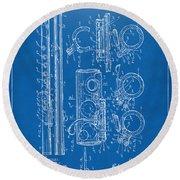 1909 Flute Patent - Blueprint Round Beach Towel