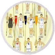 1910 - College Crew Poster - Rowing - Edward Penfield - Color Round Beach Towel