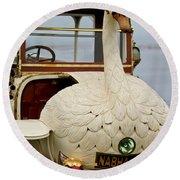 1910 Brooke Swan Car Round Beach Towel