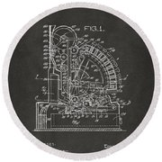 1910 Cash Register Patent Gray Round Beach Towel