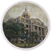 1910 Harris County Courthouse  Round Beach Towel