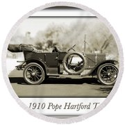1910 Pope Hartford T Round Beach Towel