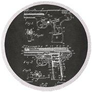 1911 Automatic Firearm Patent Artwork - Gray Round Beach Towel by Nikki Marie Smith