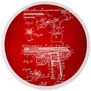 1911 Automatic Firearm Patent Artwork - Red Round Beach Towel