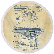 1911 Automatic Firearm Patent Artwork - Vintage Round Beach Towel by Nikki Marie Smith