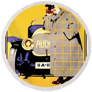 1912 - Audi Automobile Advertisement Poster - Ludwig Hohlwein - Color Round Beach Towel