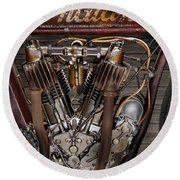 1912 Indian Board Track Racer Engine Round Beach Towel