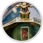 1912 Rolls-royce Silver Ghost Cann Roadster Skull Hood Ornament Round Beach Towel