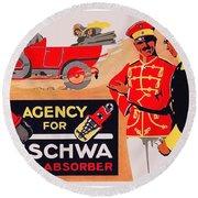 1913 - Geschwa Automobile Shock Absorber Adbertisement - Color Round Beach Towel