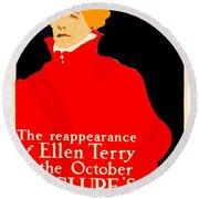 1913 - Mcclures Magazine Poster Advertisement - Ellen Terry - Color Round Beach Towel