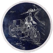 1913 Motorcycle Side Car Patent Blue Round Beach Towel