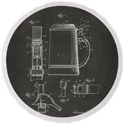 1914 Beer Stein Patent Artwork - Gray Round Beach Towel