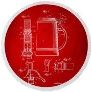 1914 Beer Stein Patent Artwork - Red Round Beach Towel by Nikki Marie Smith