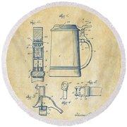 1914 Beer Stein Patent Artwork - Vintage Round Beach Towel
