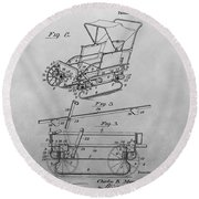 1914 Go Cart Patent Drawing Round Beach Towel