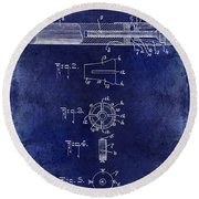 1915 Billiard Cue Patent Drawing Blue Round Beach Towel
