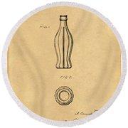 1915 Coca Cola Bottle Design Patent Art 5 Round Beach Towel
