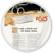 1916 - Willys Overland Roadster Automobile Advertisement - Color Round Beach Towel