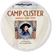 1917 - Camp Custer March One Step Sheet Music - Edward Schroeder - Color Round Beach Towel