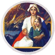 1917 - Red Cross Nursing Recruiting Poster - World War One - Color Round Beach Towel