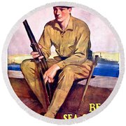 1917 - United States Marines Recruiting Poster - World War One - Color Round Beach Towel