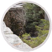 1917 Carriage Road Bridge Jordan Stream Acadia Maine Round Beach Towel