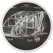 1917 Glenn Curtiss Aeroplane Patent Artwork 3 - Gray Round Beach Towel
