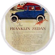 1919 - Franklin Sedan Advertisement - Color Round Beach Towel