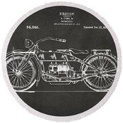 1919 Motorcycle Patent Artwork - Gray Round Beach Towel