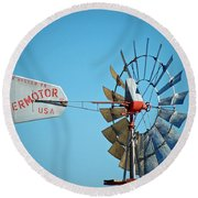 1920 Aermotor Windmill Round Beach Towel