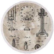 1920 Clock Patent Round Beach Towel
