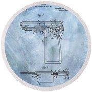 1920 Handgun Patent Round Beach Towel