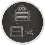 1920 Lincoln Log Cabin Patent Artwork - Gray Round Beach Towel