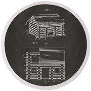 1920 Lincoln Logs Patent Artwork - Gray Round Beach Towel