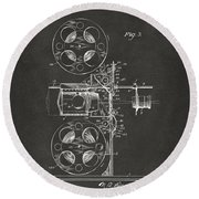 1920 Motion Picture Machine Patent Gray Round Beach Towel