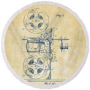 1920 Motion Picture Machine Patent Vintage Round Beach Towel