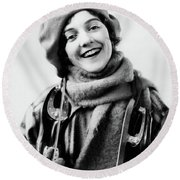1920s 1930s Smiling Woman Dressed Round Beach Towel