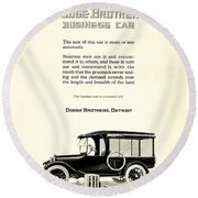 1921 - Dodge Brothers Business Car Truck Advertisement Round Beach Towel
