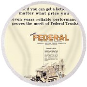 1921 - Federal Truck Advertisement - Color Round Beach Towel