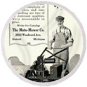 1921 - Moto Mower Lawnmower Advertisement Round Beach Towel