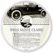 1921 - Wills Sainte Claire Automobile Roadster Advertisement Round Beach Towel