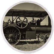 1921 Aultman Taylor Tractor Round Beach Towel by Debra and Dave Vanderlaan
