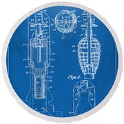 1921 Explosive Missle Patent Minimal Blueprint Round Beach Towel by Nikki Marie Smith